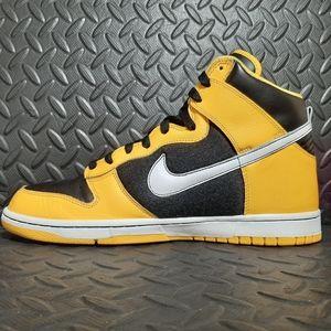nike dunks high yellow and black